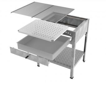 MUE Holzkohlebräter 10-fach verstellbarer Kohlekasten und Schublade
